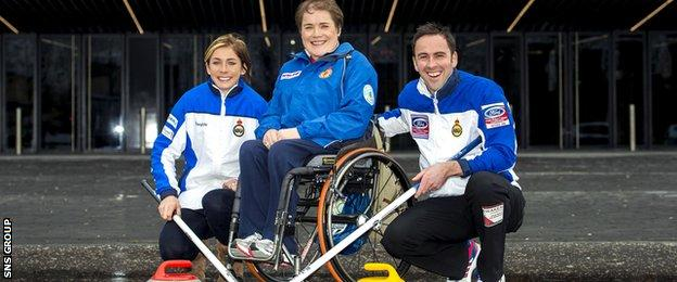 Scotland's three Olympic and Paralympic medal winning curling skips Eve Muirhead, Aileen Neilson and David Murdoch