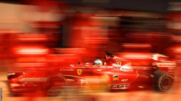 Fernando Alonso drives fro Ferrari