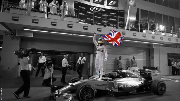 Lewis Hamilton celebrates winning the Abu Dhabi Grand Prix