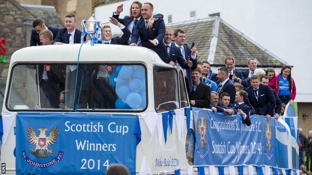 St Johnstone celebrate winning the Scottish Cup