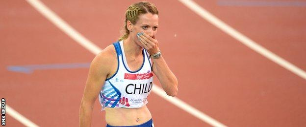Eilidh Child celebrates after winning silver in the 400m hurdles final