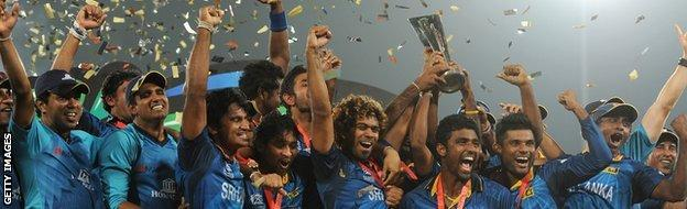 Sri Lanka celebrating winning the World Twenty20