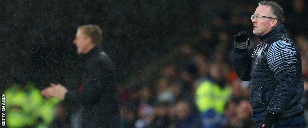 Aston Villa boss Paul Lambert (right)