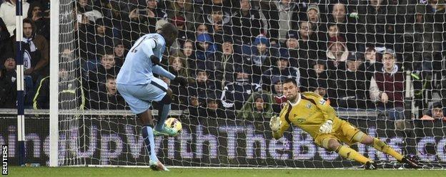 Yaya Toure put Man City 2-0 up from the penalty spot
