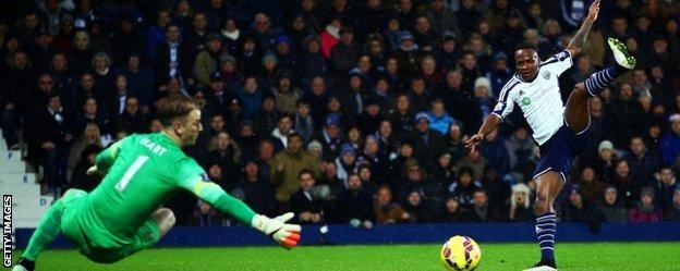 Saido Berahino fires wide for West Brom