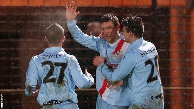 Matthew Tipton scored a brace for Ballymena United