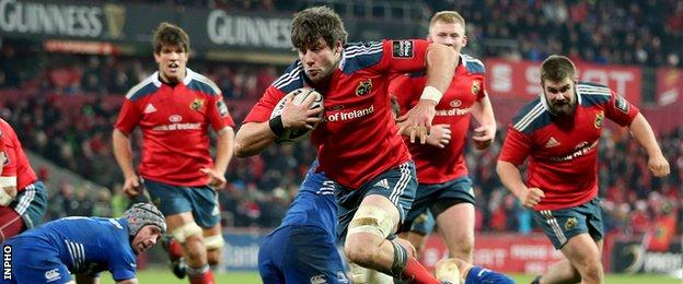Dave O'Callaghan scored Munster's third try against Leinster