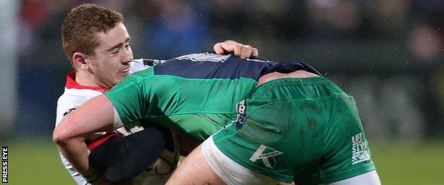 Ulster's Paddy Jackson and Connacht's Dave McSharry