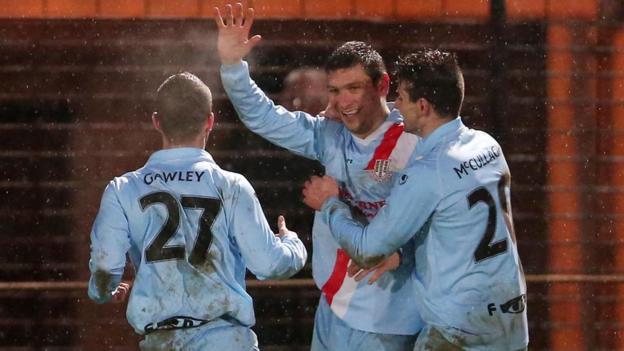 Ballymena striker Matthew Tipton celebrates scoring the winner in a thrilling 4-3 victory over Coleraine