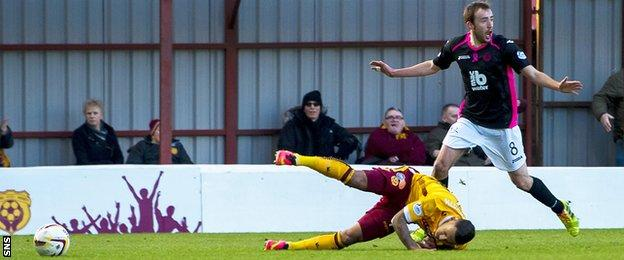 Partick Thistle's Stuart Bannigan brings down Lionel Ainsworth of Motherwell