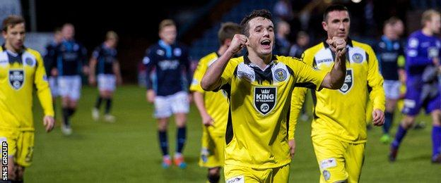 St Mirren's John McGinn is all smiles after the final whistle