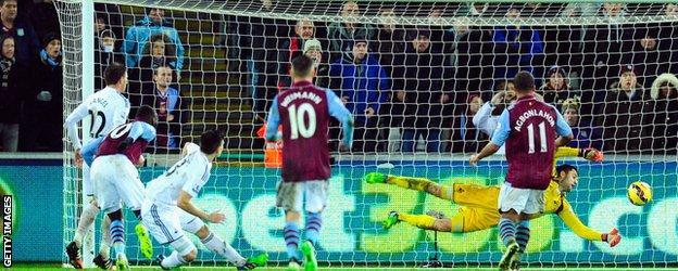 Swansea goalkeeper Lukasz Fabianski produced a good late save to deny Aston Villa a point