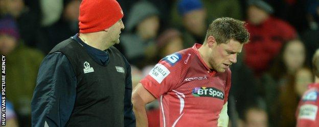 Scarlets lost fly-half Rhys Priestland to injury early in the match