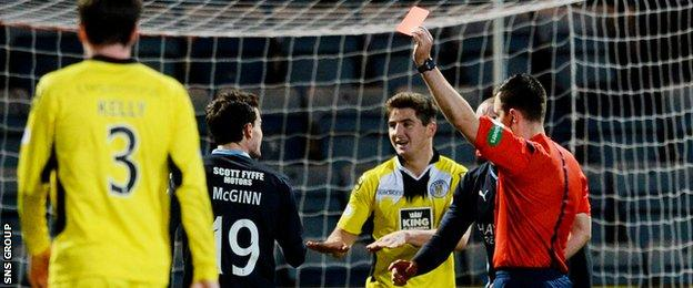 Paul McGinn (left) receives a red card after giving away a penalty to St Mirren.
