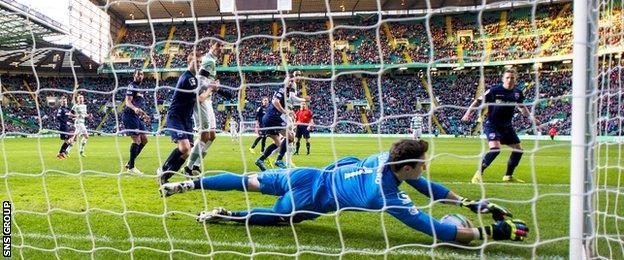 Ross County goalkeeper Antonio Reguero saves an effort from Celtic's Virgil van Dijk (centre)