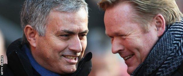 Chelsea boss Jose Mourinho (left) and Southampton manager Ronald Koeman
