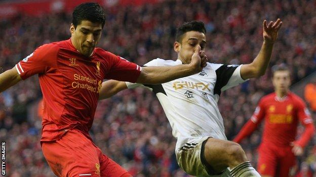 Luis Suarez (L) and Neil Taylor (R)