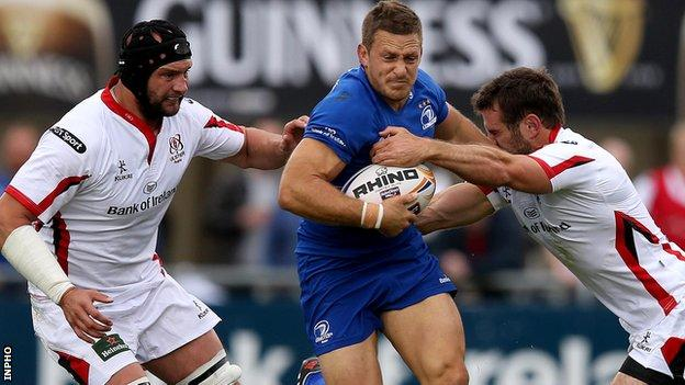 Ulster pair Dan Tuohy and Jared Payne tackle Leinster's Jimmy Gopperth in August's pre-season friendly