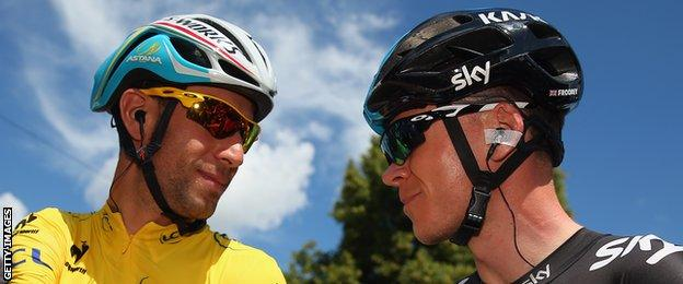Race leader Vincenzo Nibali chats to Chris Froome at the start of the third stage of the 2014 Tour de France