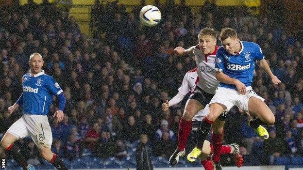 Lewis Macelod scores against Falkirk