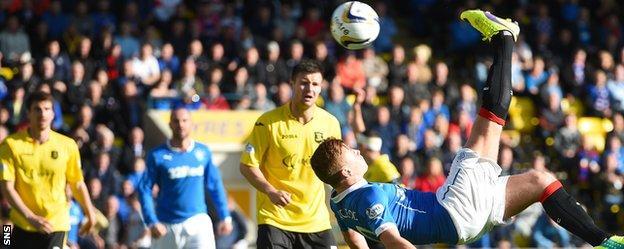 Lewis Macelod scores against Livingston