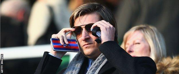 Steve Parish, co-Chairman of Crystal Palace looks on prior to the Barclays Premier League match between Queens Park Rangers and Crystal Palace at Loftus Road