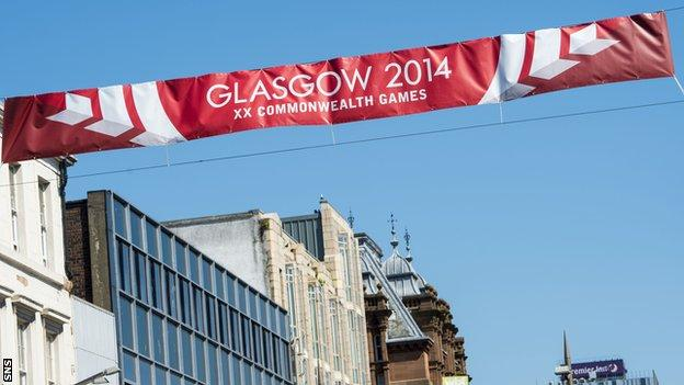 A Glasgow 2014 banner in the city