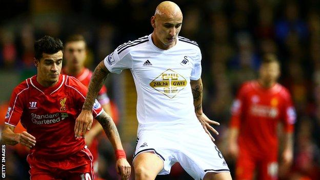 Swansea City's Jonjo Shelvey passes the ball under pressure from Liverpool's Philippe Coutinho
