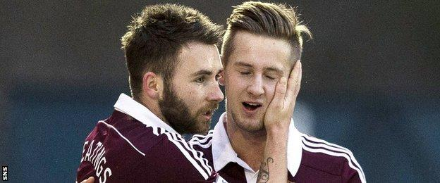 Hearts players James Keatings and Billy King
