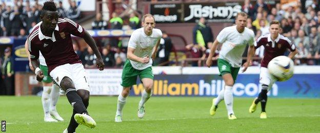 Prince Buaben scores a penalty for Hearts against Hibernian