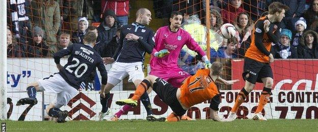 Stuart Armstrong scores for Dundee United against Dundee