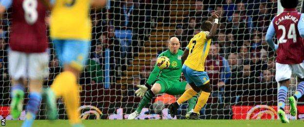 Yannick Bolasie hits the bar