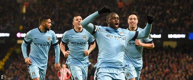 Manchester City midfielder Yaya Toure celebrates scoring against Sunderland