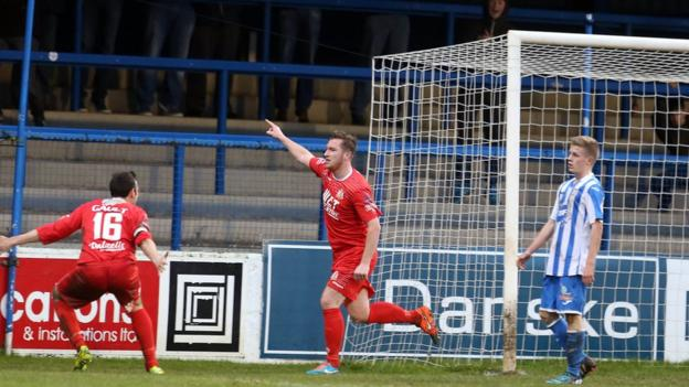 Portadown forward Mark McAllister celebrates after scoring the only goal of the game against Coleraine