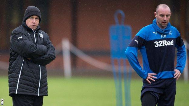 Rangers caretaker manager Kenny McDowall and striker Kris Boyd during training
