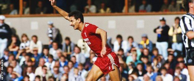 Ian Rush celebrates scoring for Liverpool against Newcastle United in 1986