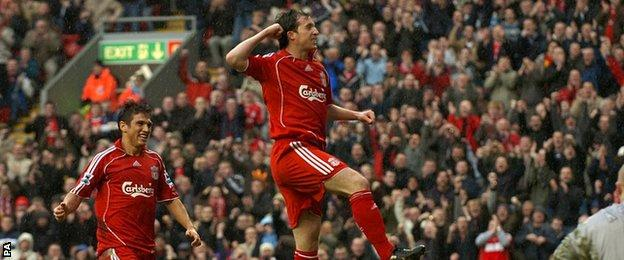 Liverpool striker Robbie Fowler celebrates scoring against Sheffield United at Anfield in 2007
