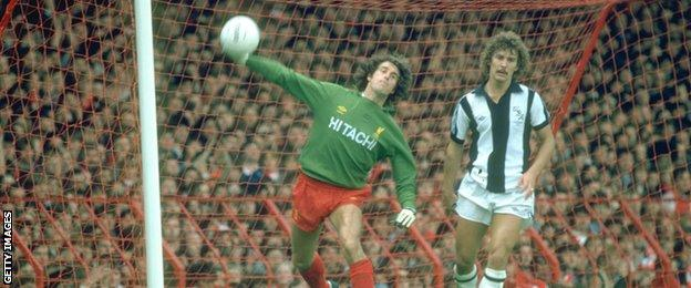 Liverpool goalkeeper Ray Clemence in action against West Bromwich Albion at Anfield in 1980