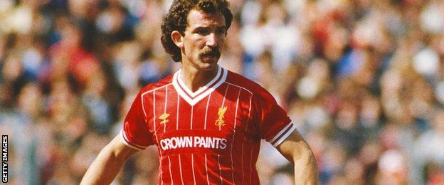 Liverpool midfielder Graeme Souness in action against Notts County at Meadow Lane in 1984