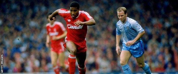 John Barnes in action against Coventry City in 1990