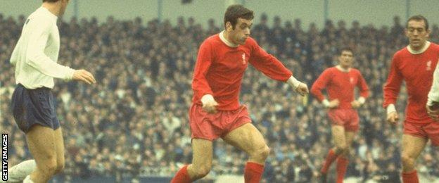 Ian Callaghan in action against Tottenham Hotspur at Anfield in 1968