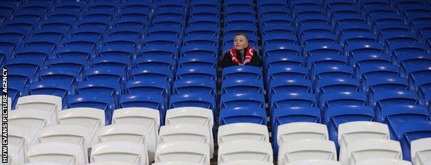 Lone fan at Cardiff City Stadium