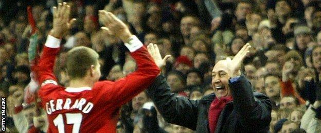 Steven Gerrard and Gerard Houllier