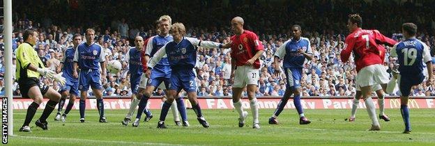 Cristiano Ronaldo (second left) scores Manchester United's opener in the 2004 FA Cup final
