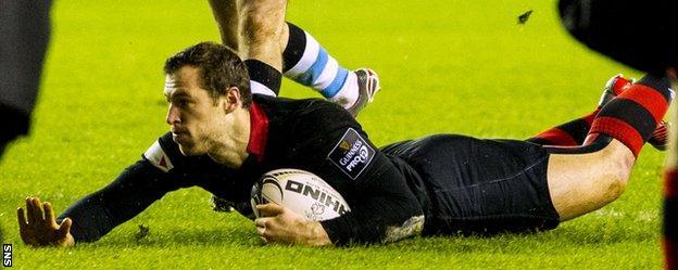 Tim Visser scores a try for Edinburgh