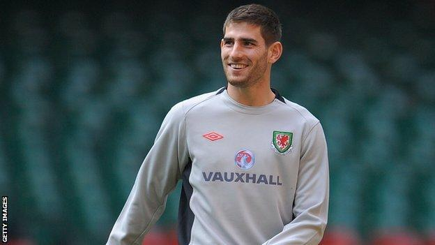 Ched Evans training with Wales in March, 2011