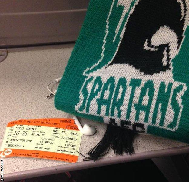Blyth fan takes train to the game