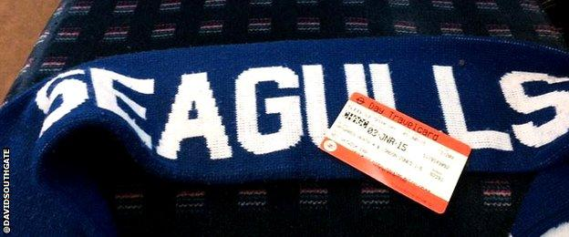 Seagulls scarf and train ticket