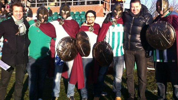 Mark Pougatch and Chris Waddle with Blyth fans