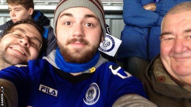 Rochdale fan Aaron and family